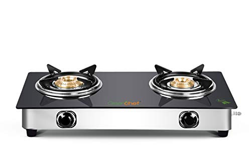 Greenchef Crystal Glass Top Gas Stove, Black 2 Burner, Stainless Steel