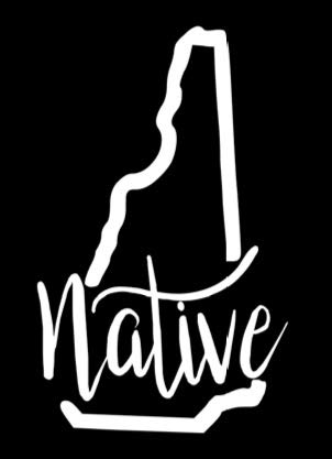 New Hampshire Native Vinyl Decal | White | Made in USA by Foxtail Decals | for Car Windows, Tablets, Laptops, Water Bottles, etc. | 2.8 x 4.5 inch