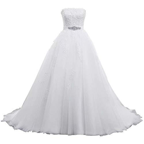 DressilyBee Tulle Strapless Neckline Lace Appliques Rhinestone Ball Gown Wedding Dress for Briden White 16W