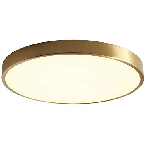 16 Pollici Incasso Plafoniera,LED 3000K Luce Calda Illuminazione Dimmerabile Ottone Spazzolato Lampada Da Soffitto Per Cucina Bagno Camera Da Letto-Sintonizzato In Remoto 50cm(20inch)
