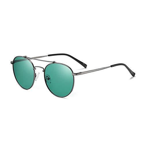 QINGZHOU Gafas de Sol,Gafas de sol retro de moda para hombre, gafas de sol de montura redonda de metal para mujer, gafas de sol para montar, pistola brillante/película verde azul C31