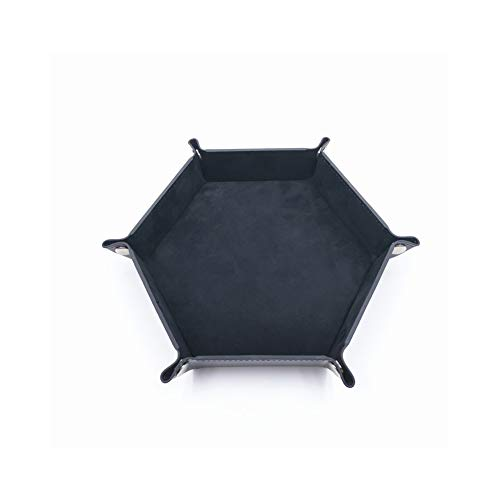 Bandeja hexagonal plegable – bandeja de metal para rollos de dados para RPG, DND y otros juegos de mesa, soporte caja de almacenamiento (negro)