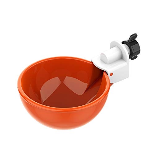 (5 Pack) Lil' Clucker Large Automatic Filling Poultry Waterer Cups | Auto Watering Drinker System for Chickens, Ducks, Geese, Turkeys etc. | Water Feeder Kit (Orange)