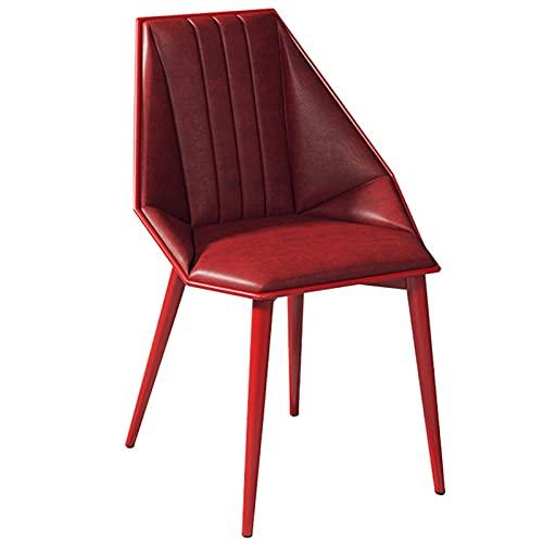 WHOJA Sillas de Comedor Decoración hogareña Silla de Escritorio Simple Respaldo Suave Silla del Comedor para Bar Cafe Patas de Metal Sillas de Esquina(Color:Rojo)