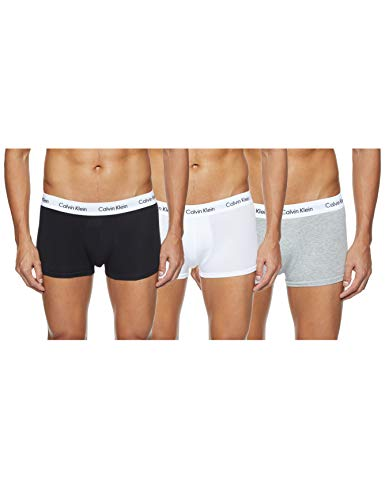 Calvin Klein Low Rise Trunk, Bóxer Para Hombre, Pack de 3, Multicolor (Black/White/Grey), S