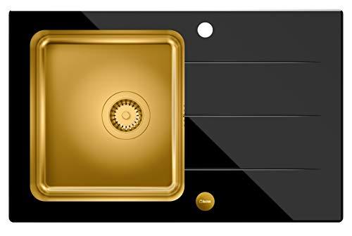 VBChome Glasspüle 78 x 50 Spülbecken Farbe-Gold Spüle schwarz Glas gehärtetes Spüle mit Gebürstete Edelstahl