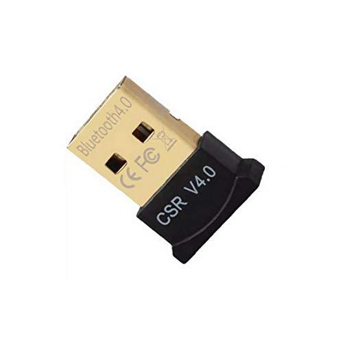 dcsdcs Bluetooth 4.0 Dongle Adaptador Micro USB para PC Compatible con Windows 7/8.1/10 / Vista/XP Frambuesa Pi Linux y estéreo Compatible con Auriculares (Negro)