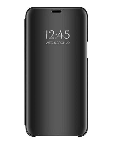 Bakicey Kompatibel mit Samsung Galaxy A70 Hülle, Samsung Galaxy A70 Spiegel Handyhülle Flip Schutzhülle Tasche mit Standfunktion Schutz Leder Hülle Cover für Samsung Galaxy A70, Schwarz