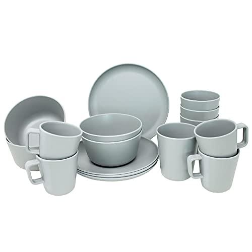 Vajilla de melamina para 4 personas (16 piezas), color gris