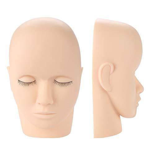 Cabeza de muñeca de entrenamiento de maniquí, práctica de maquillaje de injerto de pestañas de goma suave Forma de cabeza Cosmetología profesional Pintura de cara Maquillaje Masaje Práctico Cabeza de