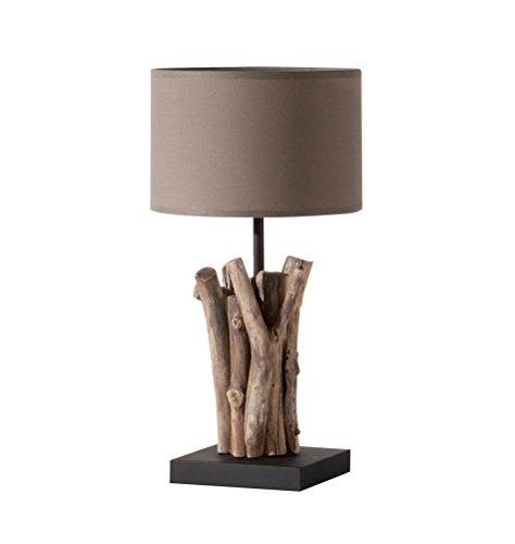 'milanari Lampe de table bois flotté avec pied en bois Bastone\