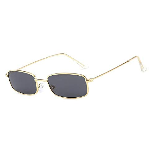 WOIA Retro Shades Gafas de Sol rectangulares Marco de Metal Lente Transparente Gafas de Sol Uv401, Dorado y Gris