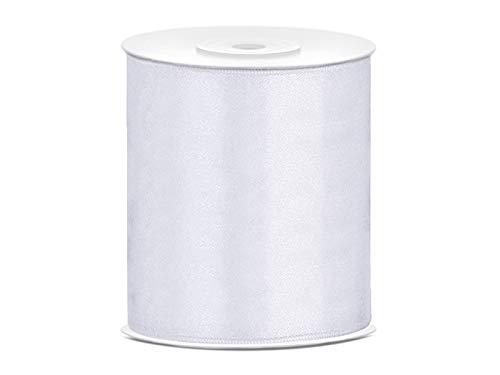 PartyDeco Satinband – Dekoschleifen Band Satin Schleifenband Stoffband – Weiß, 100 mm, 25 m