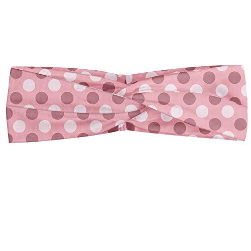 ABAKUHAUS Pink Dots Polka Bandeau, Résumé Symmetric Rounds Conception monochrome Inspiré, Serre-tête Féminin Élastique et Doux pour Sport et pour Usag