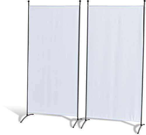 GRASEKAMP Qualität seit 1972 Doppelpack Stellwand 85x180 cm - weiß - Paravent Raumteiler Trennwand Sichtschutz