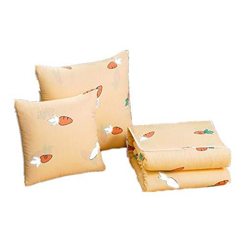 Manta de viaje y almohada Algodón fresca pequeña almohada edredón doble finalidad de múltiples funciones de la historieta Cojín de algodón Almuerzo edredón del aire acondicionado del amortiguador Equi