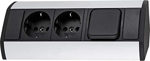 Aufbau Aluminium Steckdosenleiste 2-fach mit Ausschalter - horizontal + vertikal - 230V 3680W - schwarz-silber