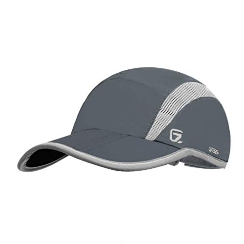 GADIEMKENSD Quick Dry Sports Hat Lightweight Breathable Soft Outdoor Run Cap (Folding series, Dark Grey)