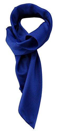 TigerTie Damen Chiffon Halstuch blau royalblau Uni mit Bordüre Gr. 80 cm x 80 cm - Schal