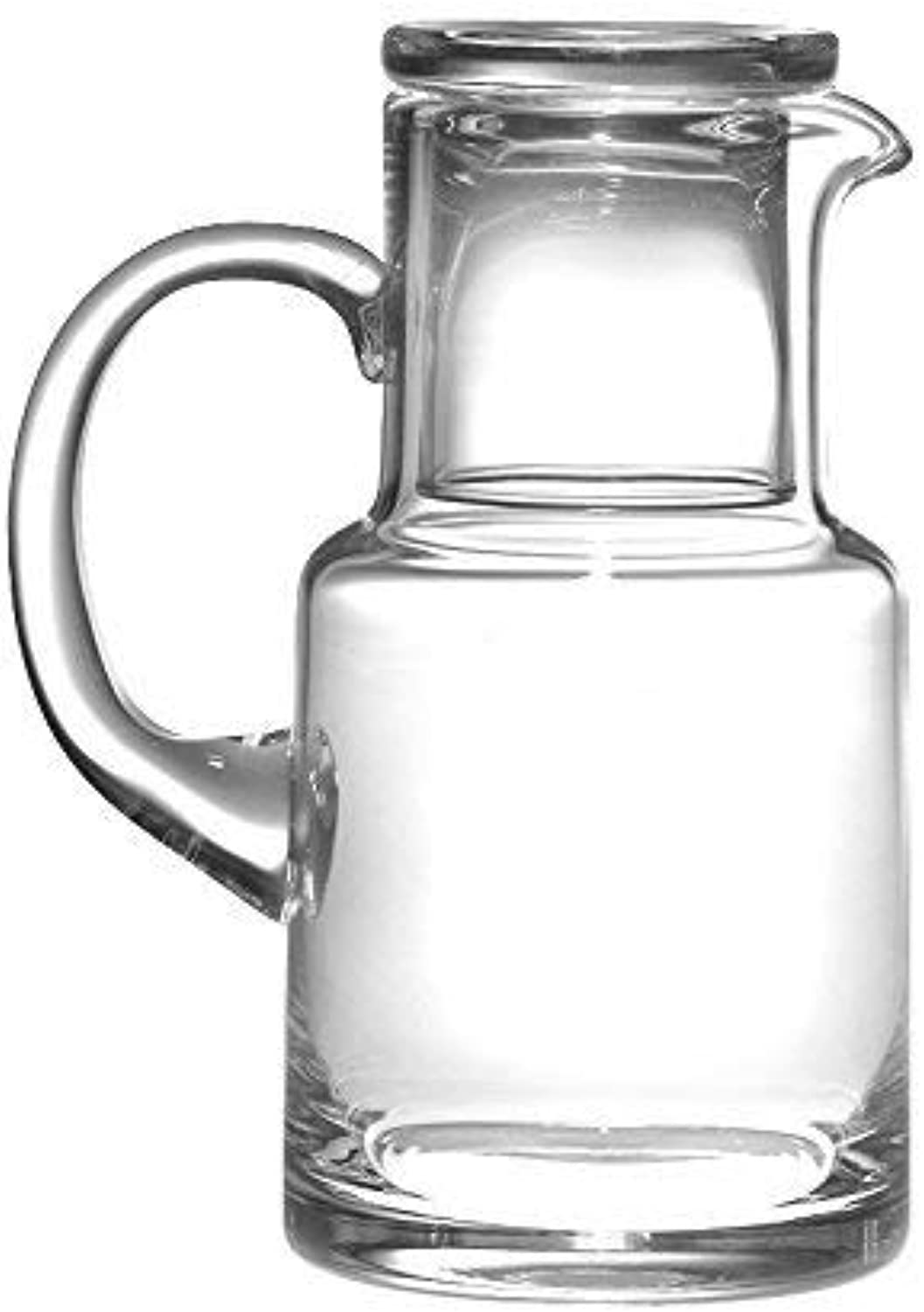 Barski - European Quality Glass - 2 Piece Water Set -Bedside Night Water Carafe   Desktop Water Carafe - With Handle - With Tumbler - Carafe is 20 oz. - Made in Europe