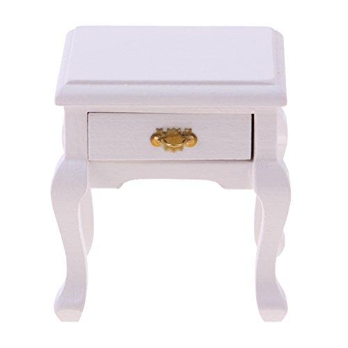 Harilla Exquisita de Noche Blanca 1/12 con Cajón de Juguete de Decoración de Muebles