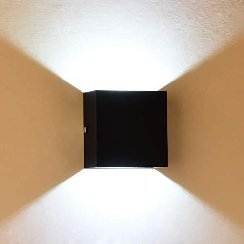 TYCOLIT 6W LED Wandleuchte Wandlampe, IP65 500LM Modern Up Down Indoor Wandleuchte Moderne Aluminium Wandleuchte Leuchten für 6500K Kaltweiß Wohnzimmer Schlafzimmer, 1 Stück (Schwarz)
