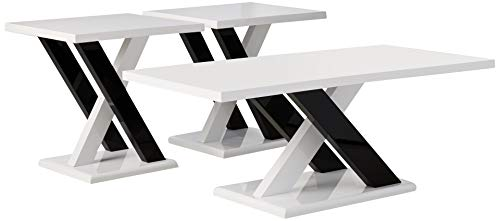 Coaster Home Furnishings 3-piece Occasional Table Set with Cross Supports White and Black