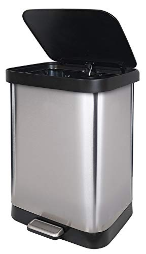 Glad GLD-74506 Stainless Steel Step Trash Can with Clorox Odor Protection | Large Metal Kitchen Garbage Bin with Soft Close Lid, Foot Pedal and Waste Bag Roll Holder, 13 Gallon