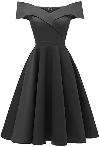 ANCHOVY vestido formal de fiesta de cóctel con hombros descubiertos para mujer C90 - Negro - X-Small