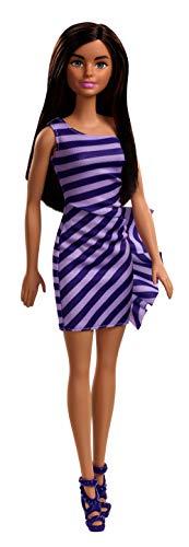 Barbie FXL69 - Glitzerkleid Puppe im violetten Kleid mit braunen Haaren, Puppen Spiezeug ab 3 Jahren - mehrfarbig
