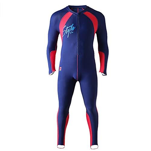 Traje de baño de cuerpo entero para hombre, traje de baño de una pieza de manga larga con media cremallera frontal, traje de neopreno integral con protección UV, surf buceo natación,Blue(red),4XL
