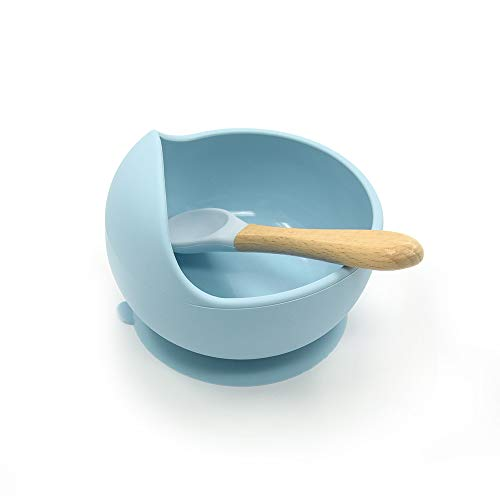 IWILCS Cuenco de Silicona con Ventosa, Mini Mantel Individual de Silicona, Plato de bebé Antideslizante, Plato de Aprendizaje de Silicona, Ventosa de Silicona para bebés, para Alimentar bebés, Azul