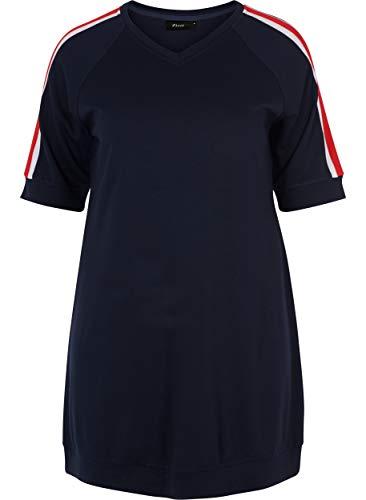 Zizzi Damen Sportliches Kleid mit Kurzarm Streifen Alltags, Große Größen 42-56