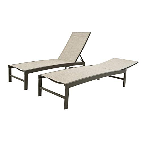 Patio Chaise Lounge Sets Outdoor Aluminum Adjustable Reclining Lounge Chair,5 Adjustable Backrest Position,All Weather for Pool Beach Yard (Beige-2pcs)