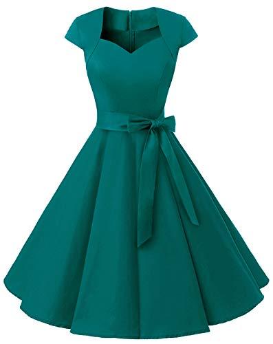 MuaDress 1960 Damen Vintage 50er Rockabilly Retro Kleider Eleganter Faltenrock mit Flügelärmeln Türkis 2XL