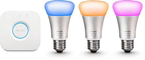 Preisvergleich Produktbild Philips Hue LED Lampe E27 Starter Set 2. Generation inkl. Bridge,  dimmbar,  16 Mio Farben,  kompatibel mit Amazon Alexa (Echo,  Echo Dot),  Standard Verpackung
