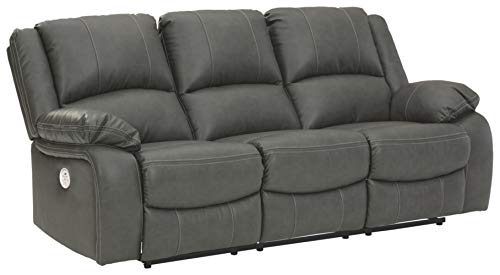 Signature Design by Ashley - Calderwell Contemporary Faux Leather Power Reclining Sofa - Adjustable - Gray