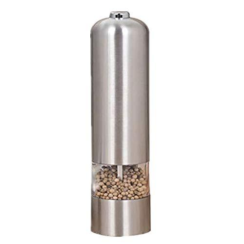 QIAN\'S Elektrische Salz und Pfeffermühle Licht Edelstahl Gewürzmühle Pfeffer Mühle (Silber)