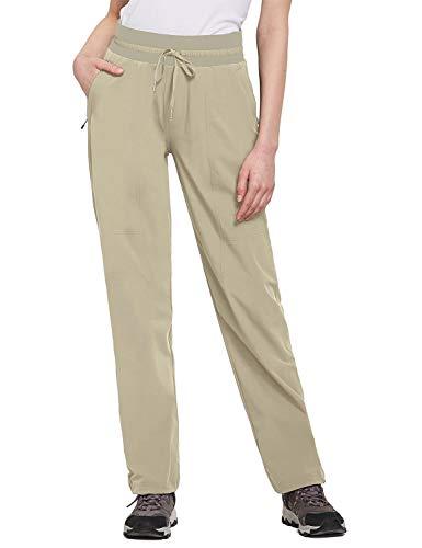 BALEAF Women's Hiking Pants Capris Elastic Waist Lightweight UPF 50+ Quick Dry with Zipper Pockets Fishing Camping Jogging Khaki XL