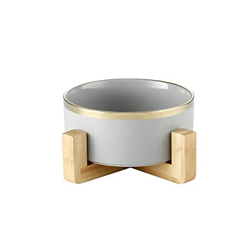 Grey Gold 5 inch Ceramic Cat Bowl with Wood Stand No Spill Pet Food Water Feeder Cats Small Dogs