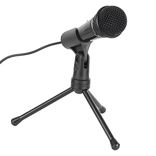 Kondensatormikrofon, Mini Portable Desktop Retro Omnidirektionales Computer-Aufnahmemikrofon mit Halterung, für Gesang/Live-Übertragung/Online-Chat/Videokonferenzen(Schwarz)