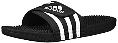 adidas Adissage Slide, Black/White/Black, 10 M US