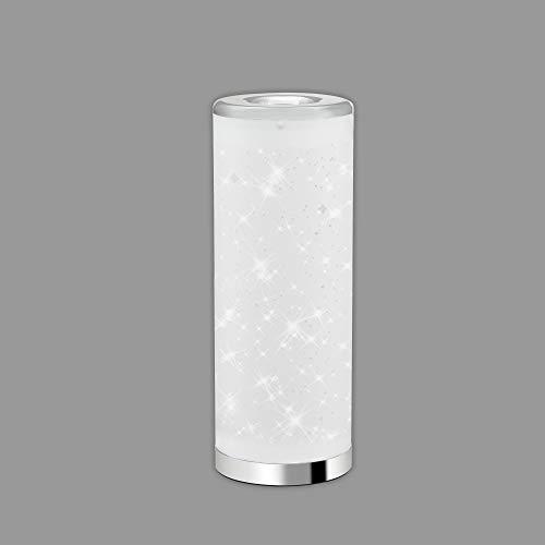 Briloner Leuchten - LED Tischleuchte, Tischlampe Sterneneffekt, inkl. Schnurschalter, 5 Watt, 400 Lumen, 3.000 Kelvin, Weiß-Chrom, 352x131mm (HxD), 7332-018