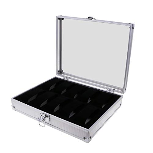 Caja de reloj de aluminio de lujo, organizador, maleta, almacenamiento con cerradura, 6/10/12/24 ranuras