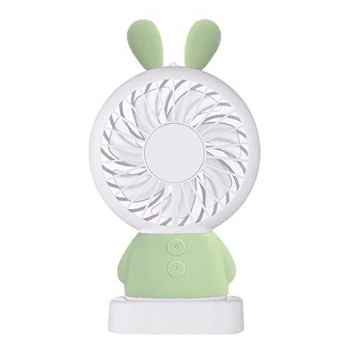 XRZMD Mini Ventilador de Dibujos Animados USB Recargable portátil batería Mano Clip Tipo Mujer Embarazada bebé Gran Volumen de Escritorio (Color : Verde)