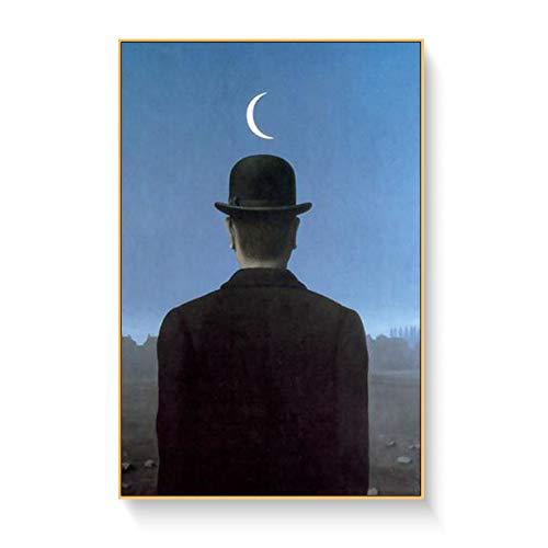 TELEGLO Magritte Künstler Surrealist Gemälde Druck auf Leinwand Abstrakte Wandkunst Bild für Wohnzimmer Home Decoration Poster und Drucke 50x70cm no Framed
