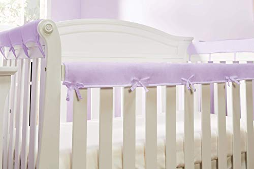 Everyday Kids Padded Baby Crib Rail Cover Set- Crib Rail Teething Guard - 3-Piece Front and Side Padded Rail Cover- with Sewn Ties for Secure Fit - Purple Soft Microfiber Polyester …