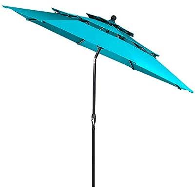 Tangkula 10 Ft 3 Tier Patio Umbrella, Outdoor Umbrella W/Double Vented, Market Table Tilt Umbrella with Crank, Outdoor Aluminum Umbrella for Market, Backyard, Pool, Garden (Turquoise)