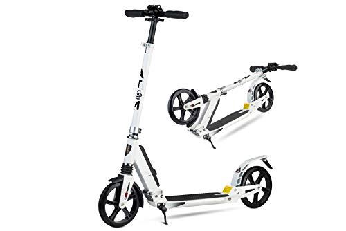 Atom Kick/Push Scooter für Erwachsene, klappbarer Rahmen, 2 Räder und Doppelfederung, City Pendler, weiß