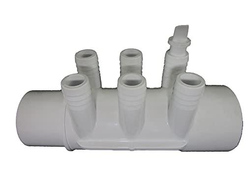 Hot Tub Manifold Plumbing Part for Spa 2' Slip x 2' Spigot (6 Ports Measure 3/4')